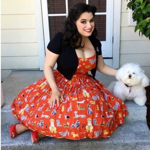 Bernie Dexter Chelsea Red Pinup Dog Print Dress 2X